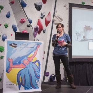 Rebecca Williams Climbing Lecturing